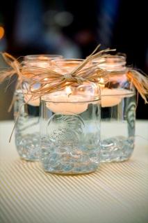 http://emmalinebride.com/handmade-wedding/mason-jar-centerpieces-floating-candles/