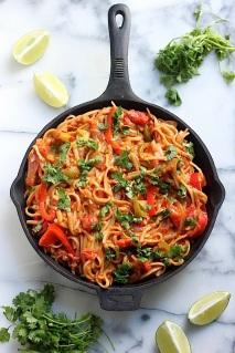 http://bakerbynature.com/skinny-one-pan-veggie-fajita-pasta/